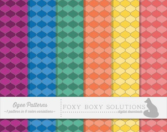 Ogee Pattern: 1 Pattern in 6 Colors; Bold Colors Pattern; High Resolution Digital Paper