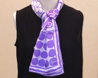 Vintage Vera Neumann Oblong Scarf. Purple and White Scarf. 70s Fashion.