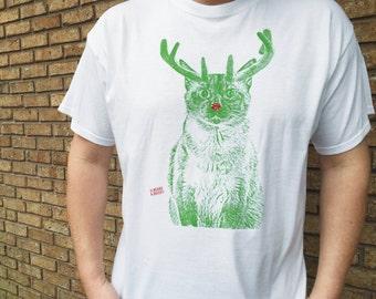 Christmas Cat TShirt SHORT SLEEVE, XMAS Cat, Rudolph Cat, Christmas Sweater Alternative