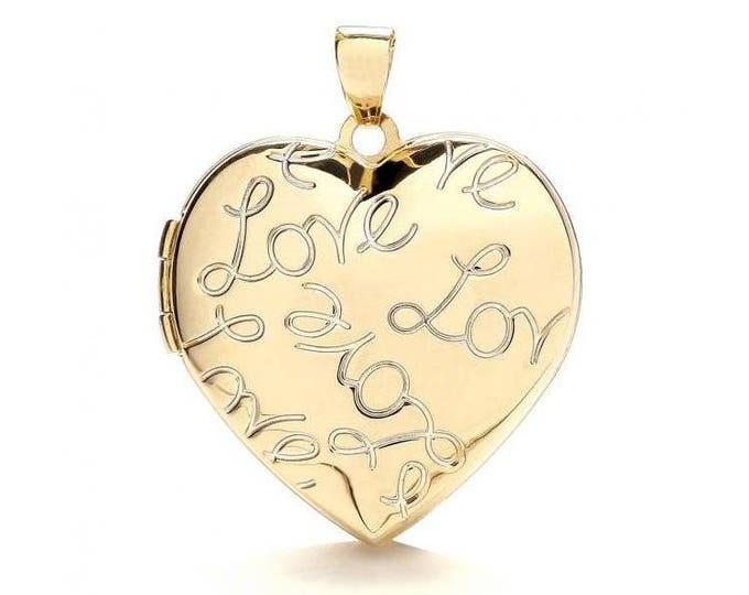 9ct Gold Love Engraved Heart Shaped 2 Photo Locket 22x22mm