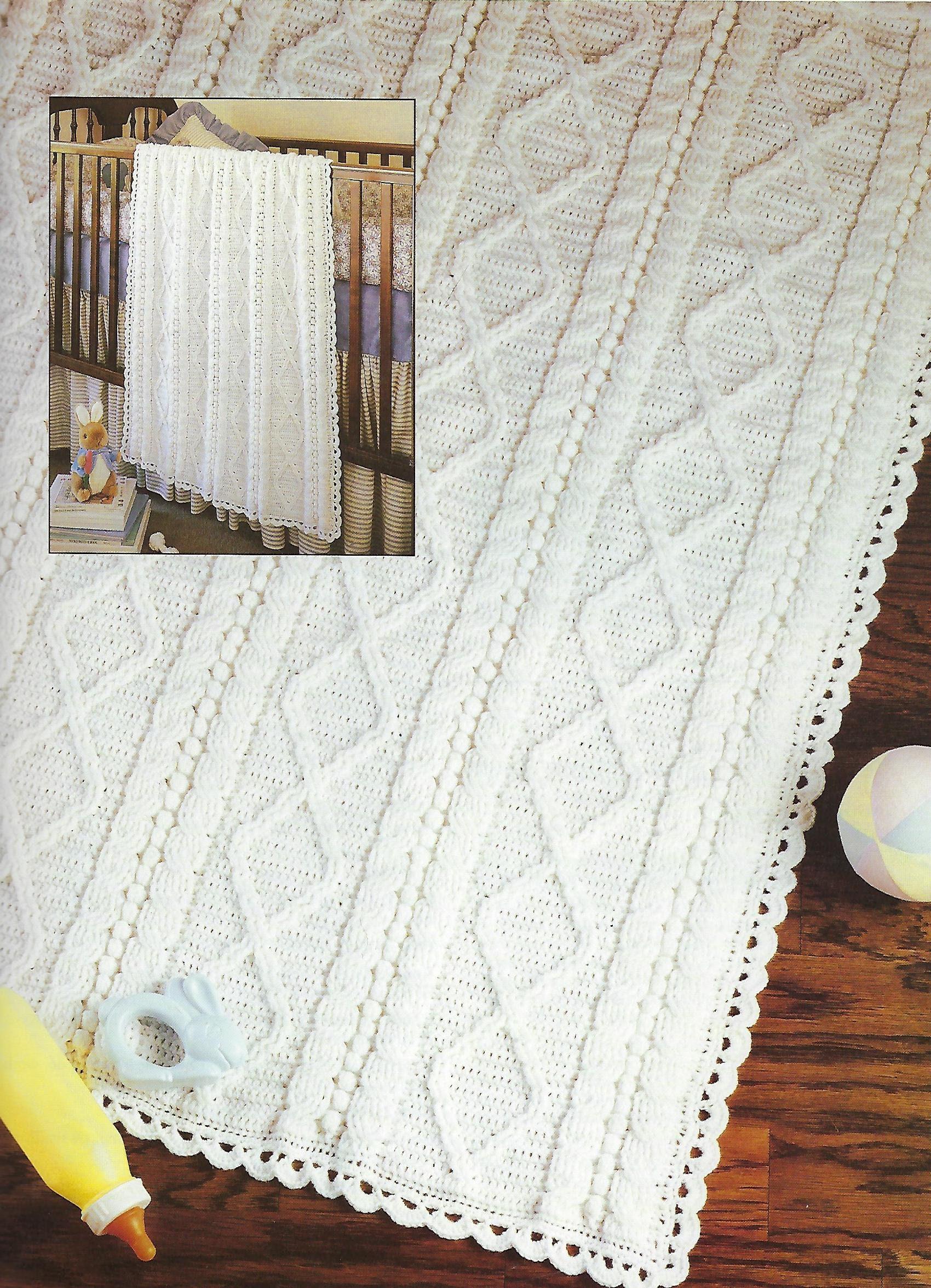 Aran Baby Afghans Crochet Pattern Book, Baby Blankets, Nursery Decor ...