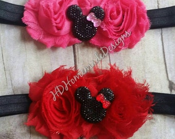 Minnie mouse Headband, flower headband, Baby, Infant, Toddler, pink, red, black , Elastic Headband