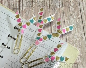 Ribbon Paperclip Gold Heart Ribbon Bookmarks, Heart Planner Gifts for Teachers, Accessory for Planners Filofax Clips, Glitter Bookmark Set