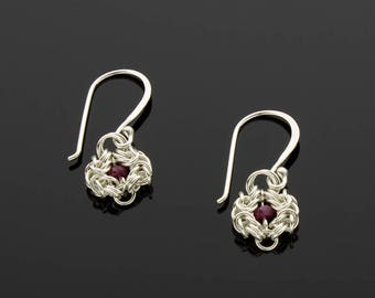 Handmade Romanov Chainmaille Earrings with Rubies
