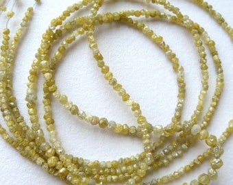 """Natural Conflict Free Rough Raw Yellow Diamond Loose Beads Strand 4"""" 1.5mm 3mm - Jewelry Making"""