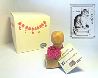 Ex libris STAMP with kitten sitting on books plus CUSTOM NAME