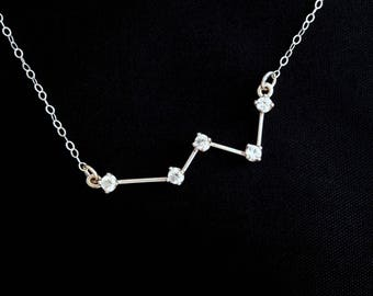 Small Cassiopeia Constellation Necklace (White Topaz and Sterling Silver)