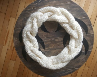 Scarf infinity cream colored one size handmade knit baby