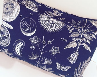 Botanical themed navy and white print cushion/pillow cover