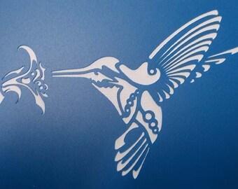 Hummingbird and Flower Stencil