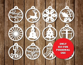 Papercut Template for Christmas decoration, PDF, SVG cutting file, Christmas Paper Cutting Templates, Personal Use, PT-050