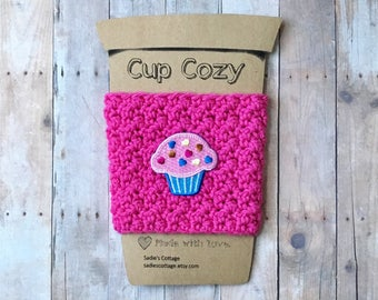 Cup Cozy, Cupcake Cup Cozy, Cupcake, Cup Sleeve, Coffee Cup Cozy, Coffee Cozy, Coffee Cup Sleeve, Coffee Sleeve, Reusable Coffee Sleeve