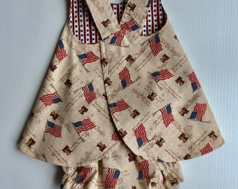 Reversible Baby Pinafore, Matching Bloomers, Born in The USA, Baby Dress, Baby Sundress, Pinafore, July 4th, Independence Day,  6 mth