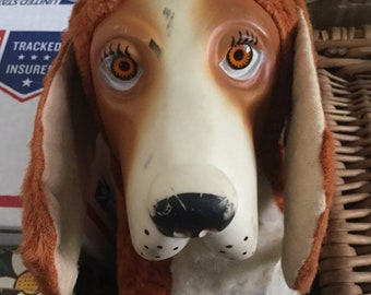 Vintage Rubber Face 1950's Stuffed Basset Hound, Allied Toys
