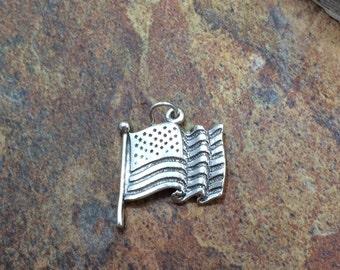 American Flag Charm, American Flag, Flag Charm, Flag Pendant, Sterling Silver Charm, Sterling Silver Pendant, PS0649
