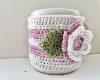 Floral Cup Cosy, Cup Sleeve, Mug Cosy, Cup Cozy, Mug Sleeve, Mug Warmer - in Pure Wool & Pure Cotton