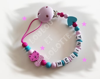 Personalized wooden pacifier/dummy clip: model MELINA