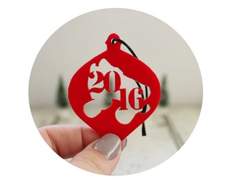 Year Ornament, Red  Holiday Decor, Christmas Tree Ornament, Personalized Gift, Stocking Stuffer, Roller Skate Ornament, Roller Derby Gift