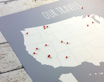Gift for Him, Paper Anniversary Gift, US Travel Map Husband Gift, United States Travel, Map of USA, Our Travels Family DIY Pin Map 16x20