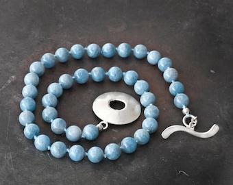Aquamarine Necklace, OverSized Sterling Silver Handmade Clasp, Sky Blue Statement Necklace, Knotted Gemstone Necklace, Aquamarine Jewellery