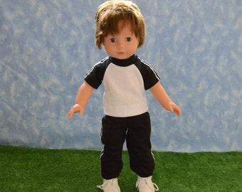 "18"" Boy Doll Clothes - Fits American Doll - Götz - Black and White Sweats Outfit - Handmade"