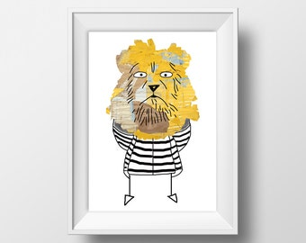 Lion Collage Illustration