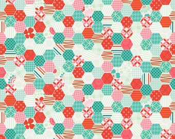 Clearance FABRIC Riley Blake SO HAPPY Together Happy Hexies in Aqua and Red  1/2 Yard