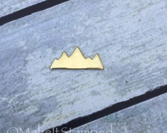 5 Brass Stamping Blanks, Mountain Range Shape, Metal Jewelry, Hand Stamping Blanks, Metal Stamping Blanks