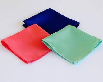 Satin pocket squares, mint green, coral, and royal blue