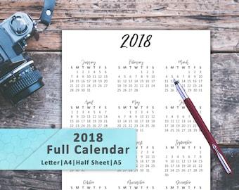 2018 Full Calendar, Full Calendar Year, 2018 Calendar, 2018 Letter Calendar, 2018 Digital Print