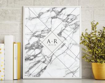 PRINTABLE Valentine's Day Gift Marble Initial Keepsake Print
