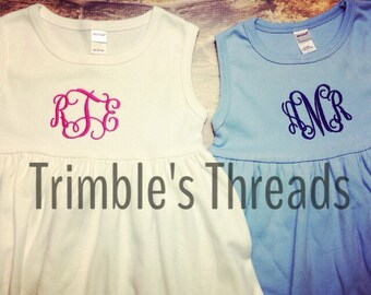 Girls Monogram Dress / Personalized Girls Summer Dress / Initial Dress