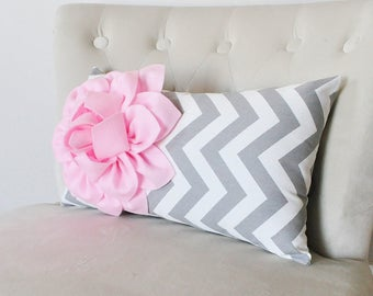 Baby Pink Pillow Lumbar Pillow - 9 x 16 inch Pink Pillow Kidney Pillow- Decorative Throw Pillow - Pink Chevron Pillow - Pink Nursery Pillows