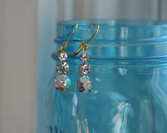 Clear Aurora Borealis Crystal Rhinestone Triple Drop  Earrings