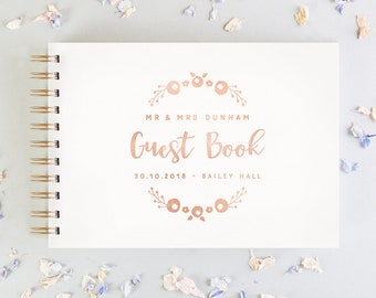 Floral Foil Personalised Wedding Guest Book