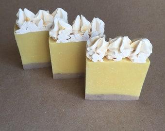 "Artisan Handcrafted ""Lemon Squares"" Cold Process Bar Soap Handmade"