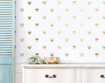 Geometric Triangle Wall Decals - Gold Decals, Nursery Decals, Modern Decals, Unique Vinyl Wall Decals, Geometric Decor for Gifts and More!