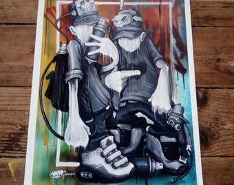 Thinking Caps A3 graffiti character painting art print by Hoakser