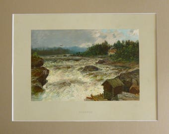 Vintage 1900's print of Norwegian waterfall at Hønefoss by Morten Müller & mount