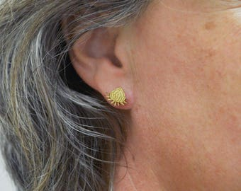 Earring wooden stud - Waratah earring, jewellery, flower, plywood australian native flora