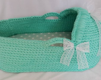 Baby Moses Basket , Baby Bassinet, Crocheted  Moses Basket,Crocheted Basket with mattress