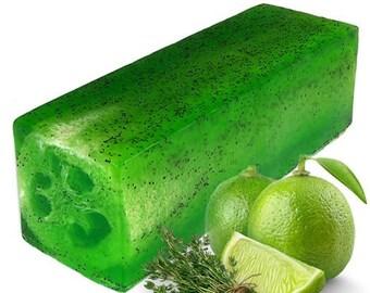 Handmade loofah soap Thyme-lime-Luxury peeling 100 gr.