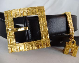 "RARE 1990 CELINE PARIS signed Arc de Triomphe motif wide black leather belt/ gold 3-D charm/ hand made Italy: size 70 cm(26-28"")"