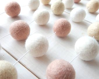 Pink and Cream Garland, Pom Pom Garland, Felt Ball Garland, Baby Girl Nursery Room, Wedding Banner, Bunting, Pastel, Shabby Chic, Blush Pink