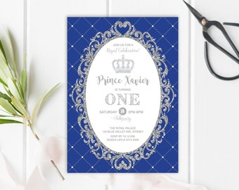 Royal PRINCE First Birthday Invitation. Royal Blue and Silver Glitter Party Invite. Prince Invitation. Silver Crown. Baby Boy. Any Age. RBS