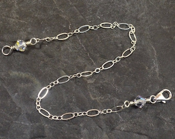 2 Inch Crystal Necklace Extender - Sterling Silver - Figure Eight Chain