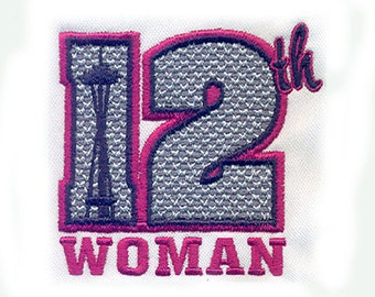 """3""""T Seahawks 12th Woman Fan with Space Needle Embroidery Design  - Instant Digital Download"""
