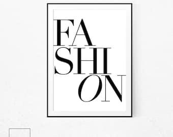 Fashion Poster, Fashion Wall Art, Scandinavian Print, French Poster, Scandinavian Poster, Minimalist Print, Typography Print, Fashion Sign.
