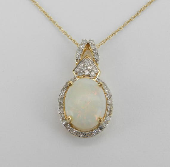 "Diamond and Opal Halo Pendant Necklace 14K Yellow Gold 18"" Chain October Gemstone"