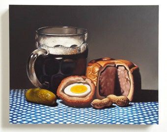 Original oil painting, beer with pork pie and scotch egg, still life